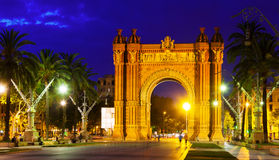 Triumphal arch in  night. Barcelona Royalty Free Stock Photo