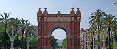 Triumphal arch panorama. Royalty Free Stock Photography
