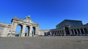 The triumphal arch at Parc du Cinquantenaire in Brussels Stock Photos