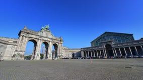The triumphal arch at Parc du Cinquantenaire in Brussels Stock Photos