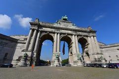 The triumphal arch at Parc du Cinquantenaire in Brussels Stock Photo