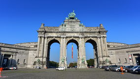 The triumphal arch at Parc du Cinquantenaire in Brussels Royalty Free Stock Photos