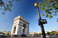 Triumphal Arch - Paris. A shot of the famous Triumphal Arch in Paris, France - this was taken from Place Charles De Gaulle Royalty Free Stock Photo