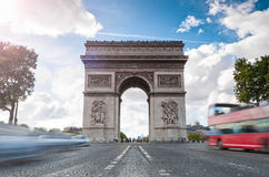 Triumphal arch in Paris. Royalty Free Stock Photography