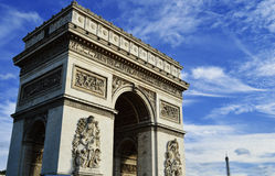 Triumphal Arch in Paris France Stock Photos