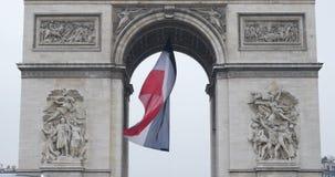 Triumphal Arch - Paris, France, Arc de Triomphe Paris, France. PARIS, FRANCE - CIRCA 2015: Tilt-down to the Arc de Triomphe - Triumphal Arch, the symbol of Paris stock video