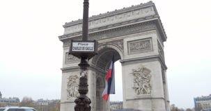 Triumphal Arch - Paris, France, Arc de Triomphe Paris, France. PARIS, FRANCE - CIRCA 2015: Zoom out from street sign of Place Charles de Gaulle and Arc de stock video footage