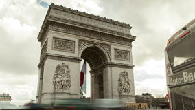 The triumphal arch in Paris, France. Arc De Triomphe in Paris, France. Traffic is circulating  around it stock video footage