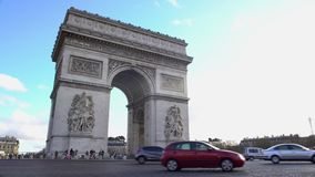 Triumphal Arch in Paris, grand monument of neoclassical architecture in France. Stock footage stock footage
