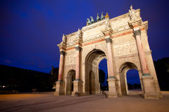 Triumphal arch in Paris night shot Royalty Free Stock Images