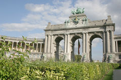 Triumphal arch at the park du cinquantenaire Royalty Free Stock Photos