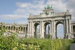 Triumphal arch at the park du cinquantenaire. Brussels, Belgium royalty free stock photos