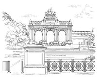 The triumphal arch in the park of the fiftieth anniversary in Br. Ussels Belgium. Landmark of Brussels.  Vector hand drawing monochrome illustration isolated on Royalty Free Stock Photos