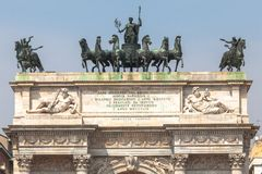 Triumphal Arch of Peace in Milan, Italy Royalty Free Stock Photo