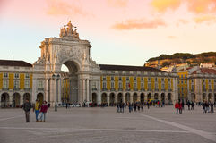 Triumphal arch on the Praça do Comércio in Lisbon Royalty Free Stock Image