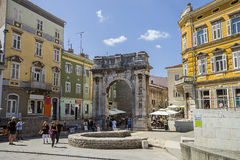 Triumphal arch of Roman antique era in Pula Stock Photos