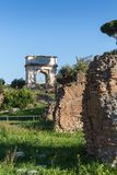 Triumphal arch of the roman emperor Titus at the Roman Forum royalty free stock photography