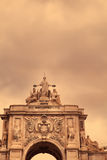 Triumphal arch at Rua Augusta. From Commerce Square Praca do Comercio in Lisbon, Portugal Stock Images