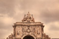 Triumphal arch at Rua Augusta from Commerce Square. Praca do Comercio in Lisbon, Portugal Royalty Free Stock Image