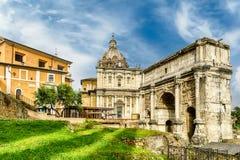 Triumphal Arch of Septimius Severus in the Roman Forum, Italy Stock Images