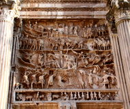 Triumphal arch of Septimus Severus details. Relief details of the triumphal arch os the emperor Septimus Severus, Rome, Italy Stock Photo
