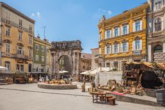 Triumphal Arch of Sergius in Pula Stock Images