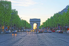 Triumphal Arch of Star in Paris in France in evening Royalty Free Stock Photo