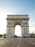 Triumphal arch with street at Paris France Stock Photos