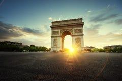Triumphal Arch at sunset, Paris. France Stock Photos
