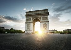 Triumphal Arch at sunset, Paris. France Royalty Free Stock Photo