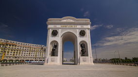 Triumphal arch timelapse and the central part of the city in Astana, Kazakhstan. stock video