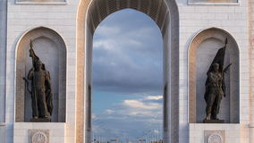 Triumphal arch timelapse and the central part of the city in Astana, Kazakhstan. stock footage