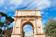 Triumphal Arch Of Titus .The Ancient Roman Forum. Stock Images