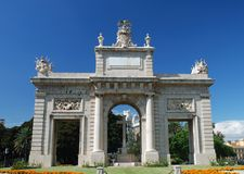 Triumphal Arch in Valencia stock images