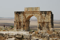 Triumphal Arch - Volubilis Roman City, Morocco. Volubilis Roman city in Morocco situated near Meknes between Fes and Rabat. It developed from the 3rd century BC Royalty Free Stock Images