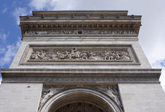 The triumphal arch. On the walls there are battles. Battle of J. Paris; France- May 01; 2017:The triumphal arch. On the walls there are battles. Battle of Jemapp Royalty Free Stock Photo