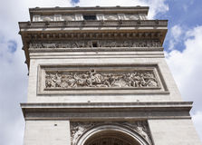 The triumphal arch. On the walls there are battles. Battle of J. Paris; France- May 01; 2017:The triumphal arch. On the walls there are battles. Battle of Jemapp Royalty Free Stock Image
