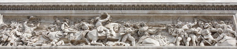 The triumphal arch.On the walls there are battles. Battle of Je. Paris; France- May 01; 2017:The triumphal arch.On the walls there are battles. Battle of Jemapp Stock Images