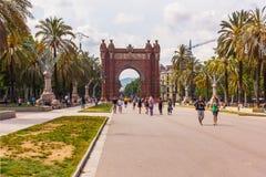 Triumphal båge i barcelona Arkivfoton