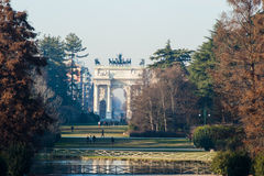 Triumphal båge i Italien Arkivbilder