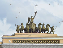 Triumphal chariot on an arch of the General staff. St.-Petersburg. Stock Photo