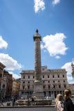The Triumphal Column of Marcus Aurelius in Rome Italy Stock Images