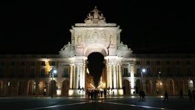 The triumphal  Rua Augusta Arch at night stock video