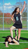 Triumphant Girls Lacrosse player Royalty Free Stock Image