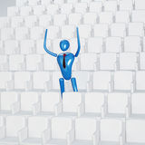 Triumphant person on the stadium Royalty Free Stock Photography