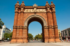 Triumphbogen in der neo-maurischen Art. Barcelona. lizenzfreie stockfotos