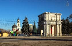 Triumphbogen am 13. Dezember 2014 Chisinau, Moldau Stockbilder