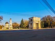 Triumphbogen und Geburt Christis-Kathedrale, Chisinau, Moldau stockbild