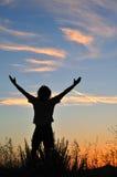 Triumphierender Mann am Sonnenuntergang lizenzfreies stockbild