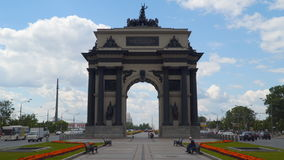 Triumphl arch in Moscow with Kutuzov Avenue. Moscow, Russia - July 16, 2017: Triumphal arch in Moscow The triumphal arch in Moscow was erected from 1829 to 1834 stock video footage